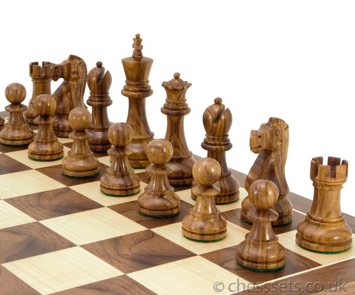 Jacob Knight Sheesham & Boxwood Staunton Chess Pieces - Click Image to Close