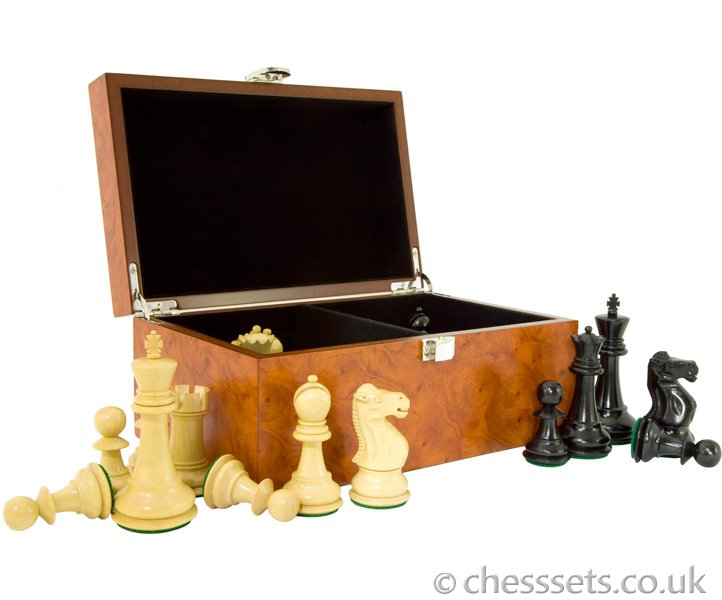 Reykjavik Ebony Chess Pieces with Storage Case - Click Image to Close