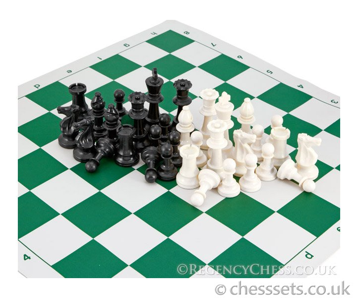 School Tournament Chess Set in Green - Click Image to Close