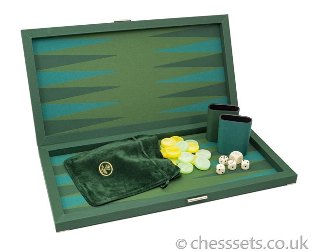 Dal Negro Backgammon Set Green Fabric Deluxe - Click Image to Close