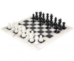 Black and White Alabaster Chess Set 14 Inches