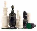 Barley Corn Hand Carved Camel Bone Chess Pieces