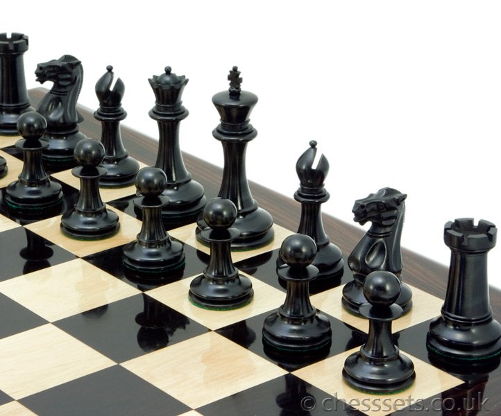 Old English Elite Series Ebony Staunton Chess Pieces Large - Click Image to Close