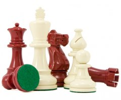 Atlantic Red & Cream Gloss Lacquered Chess Pieces