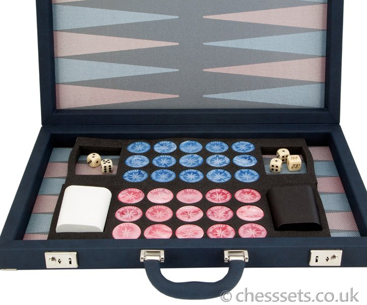 Dal Negro Backgammon Set Luxury Composite Blue and Violet - Click Image to Close