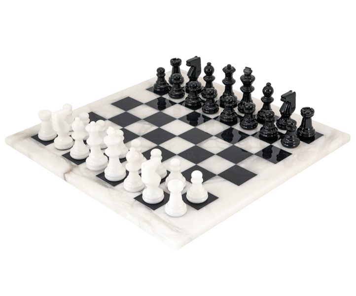 Black and White Alabaster Chess Set 14 Inches - Click Image to Close