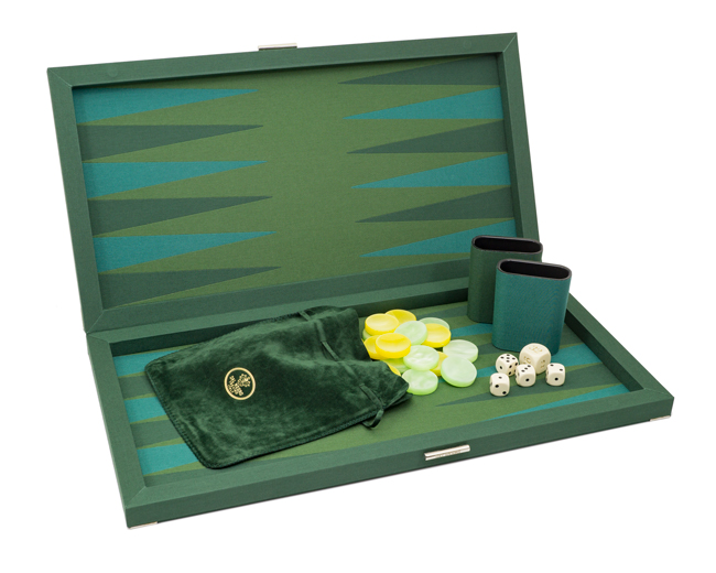 Dal Negro Backgammon Set Green Fabric Deluxe