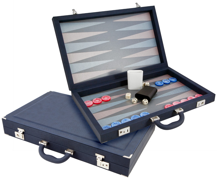 Dal Negro Backgammon Set Luxury Composite Blue and Violet