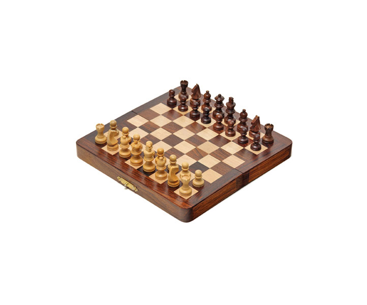 Compact Sheesham & Maple Magnetic Chess Set
