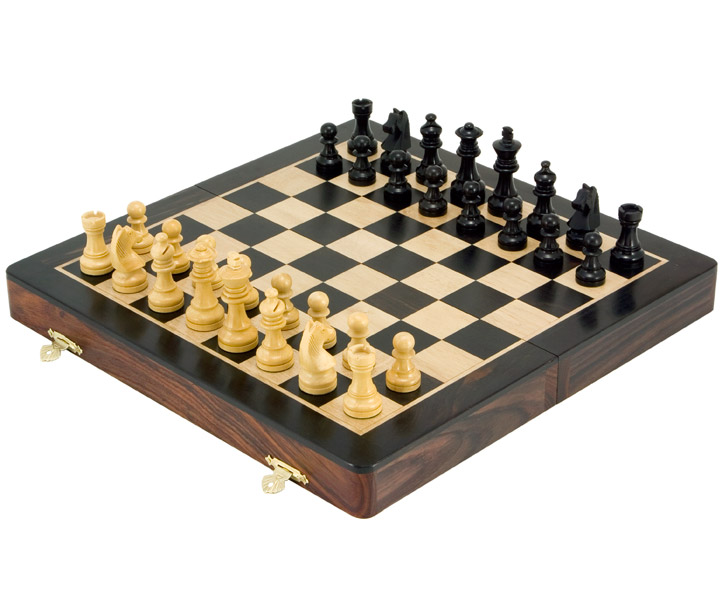 Ebony, Rosewood & Boxwood Luxury Folding Chess Set