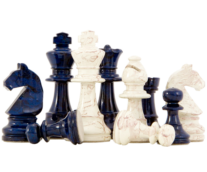 Blue & Cream Lacquered Wooden Chess Pieces