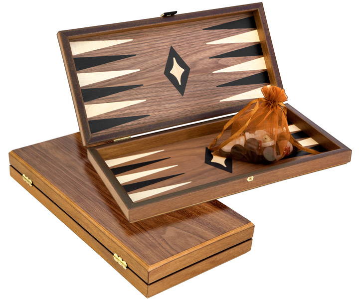 Manopoulos Compact Walnut Backgammon Set