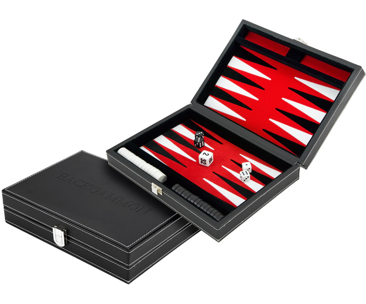 Compact Magnetic Leatherette Backgammon Set with Red Felt Inlay