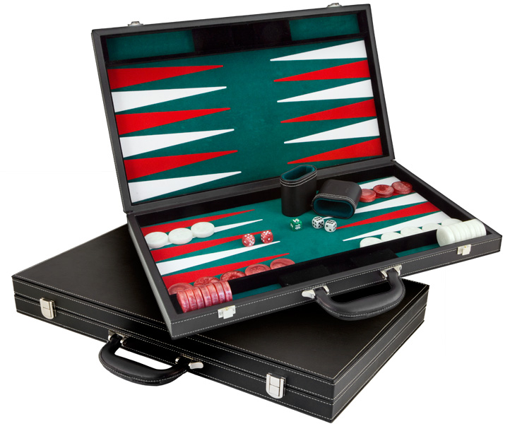 Large Casino Style Imitation Leather Backgammon Set