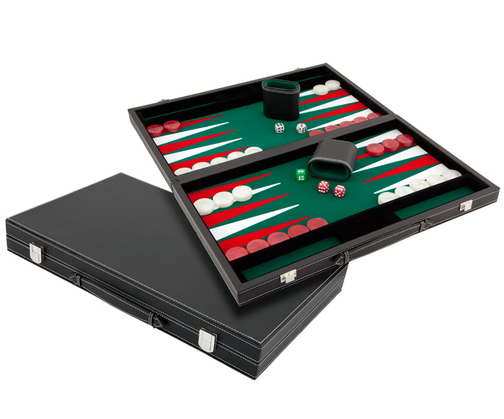 Medium Casino Style Imitation Leather Backgammon Set