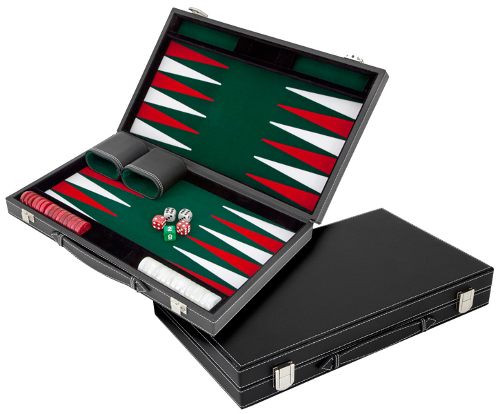 Compact Casino Style Imitation Leather Backgammon Set