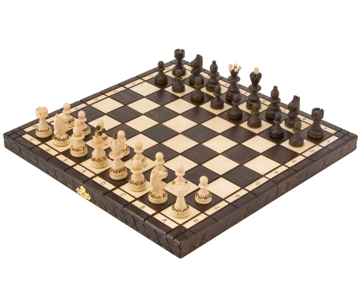 Pearl Folding Wooden Chess Set - Click Image to Close