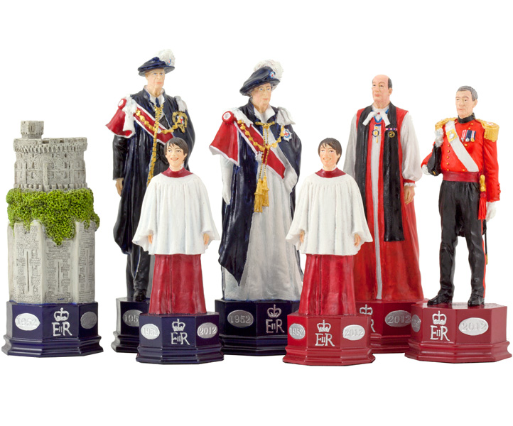 Official HM The Queen's Diamond Jubilee Chess Set Hand Painted