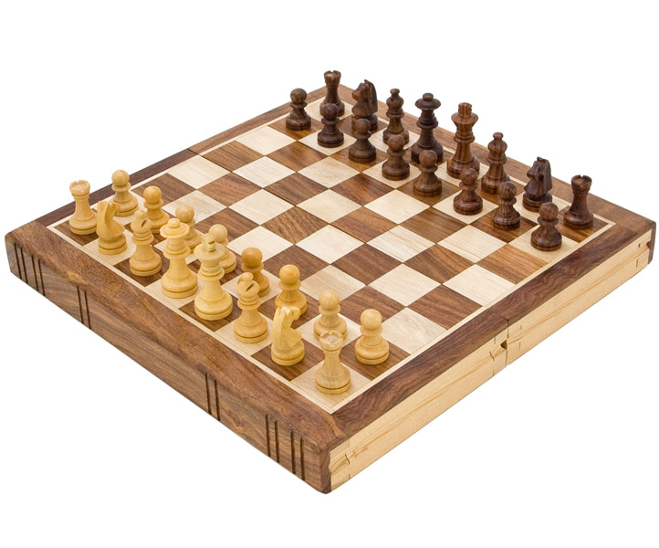 Bookend Style Sheesham & Maple Chess Set