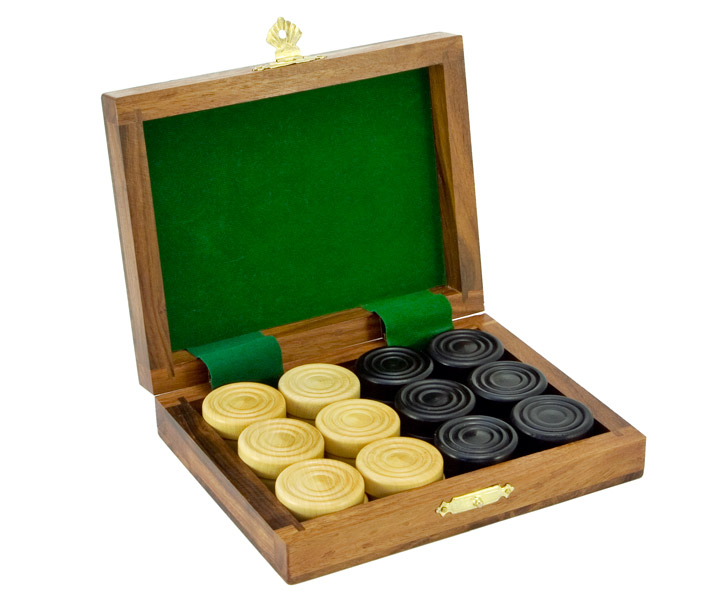 Wooden Draughts Set in Solid Sheesham Case - Click Image to Close