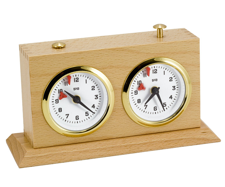 Wooden Analogue Chess Clock with Holder
