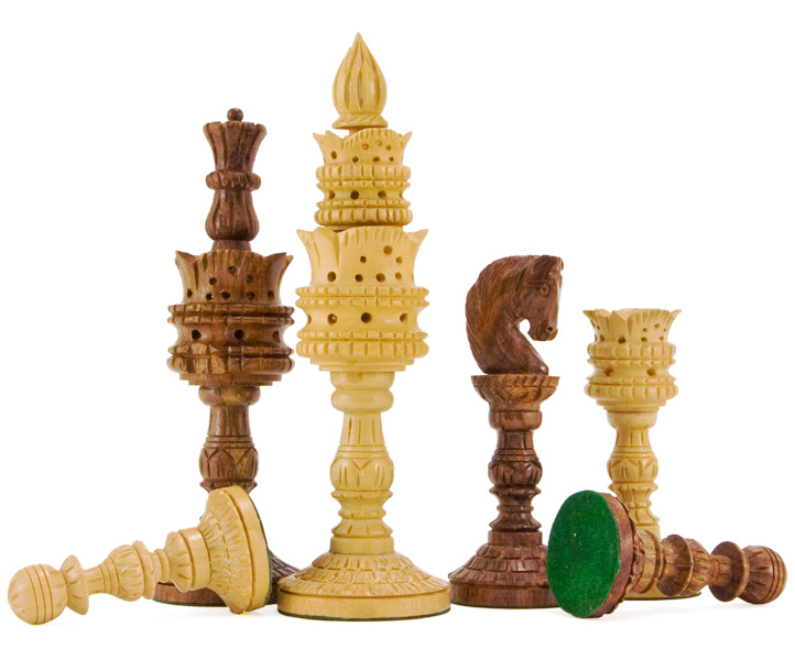 Lotus Flower Hand Carved Chess Pieces in Sheesham Large - Click Image to Close