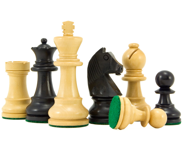 Down Head Ebonised Staunton Chess Pieces 3 Inches