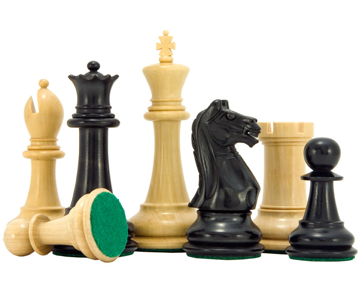Oxford Series Ebonised Boxwood Chess Pieces