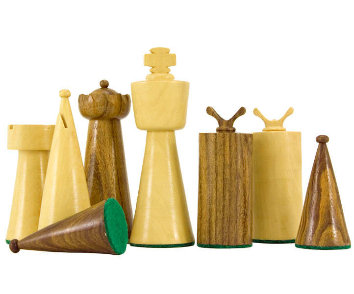 Art Deco Sheesham and Boxwood Chess Pieces