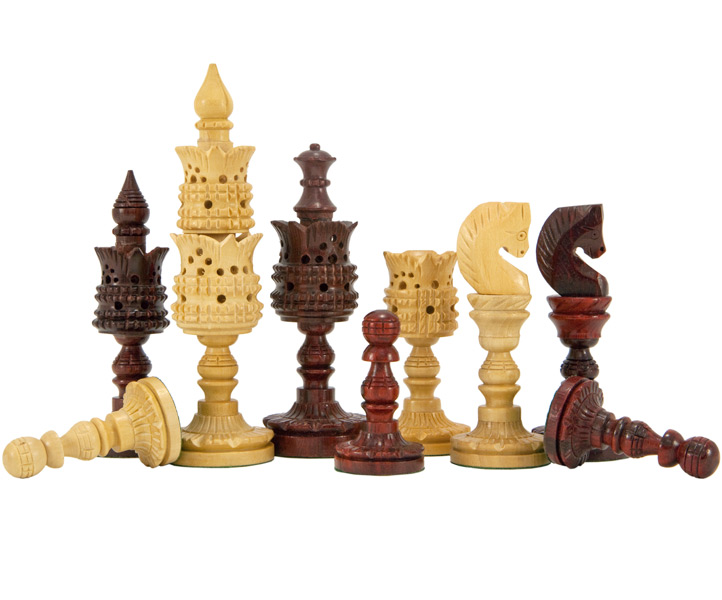 Lotus Flower Hand Carved Chess Pieces in Red Sandalwood - Click Image to Close
