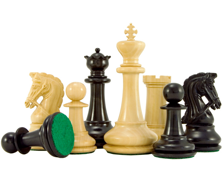 Monarch Series Ebony and Boxwood Staunton Chess Pieces
