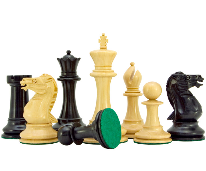 Old English Elite Series Ebony Staunton Chess Pieces Large