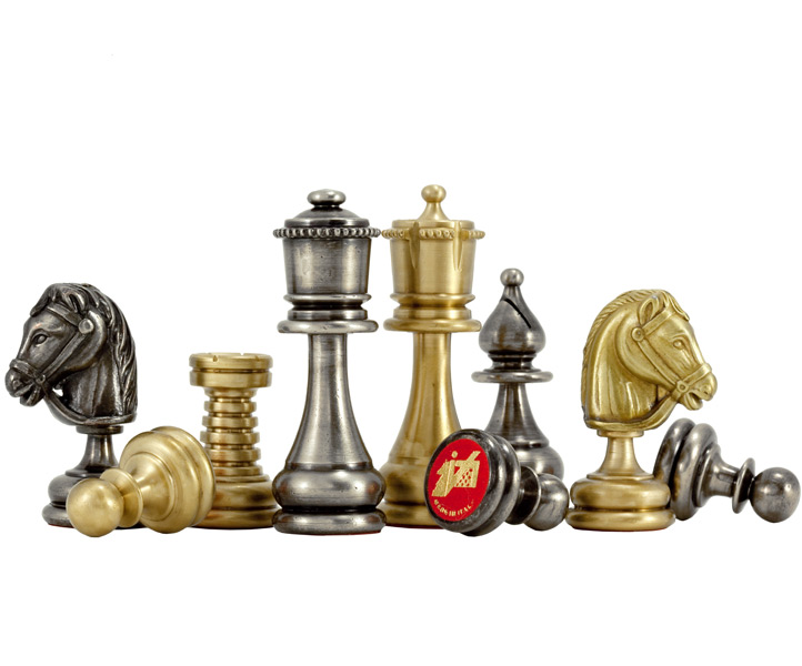 Verona Brass & Nickel Chess Pieces - Click Image to Close