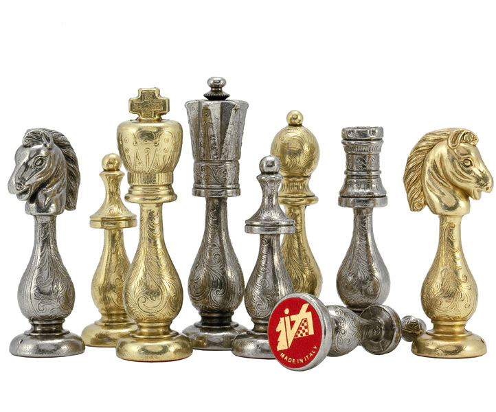 Maghreb Brass & Nickel Chess Pieces - Click Image to Close