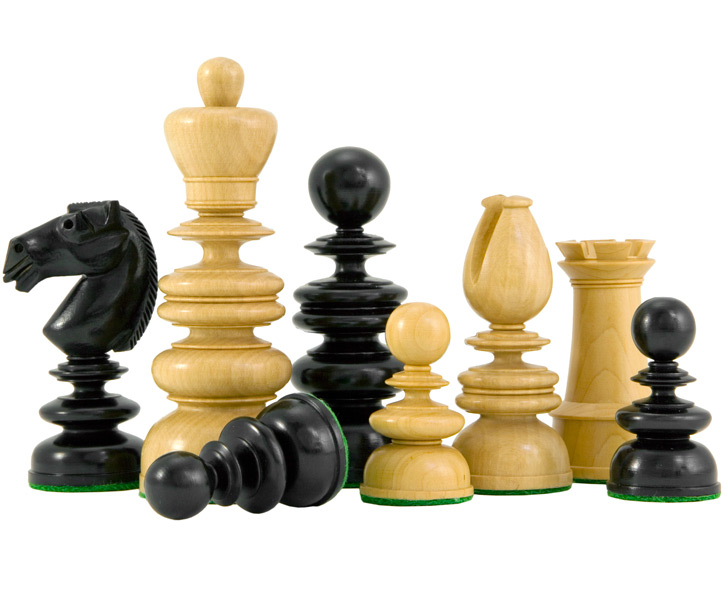 St George Ebony and Boxwood Luxury Chess Pieces