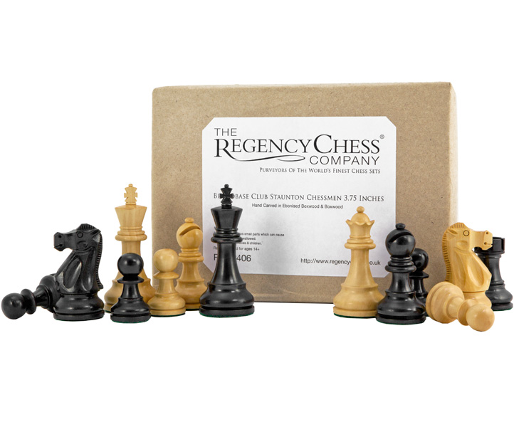Broadbase Club Ebonised Boxwood Chessmen 3 3/4 Inches