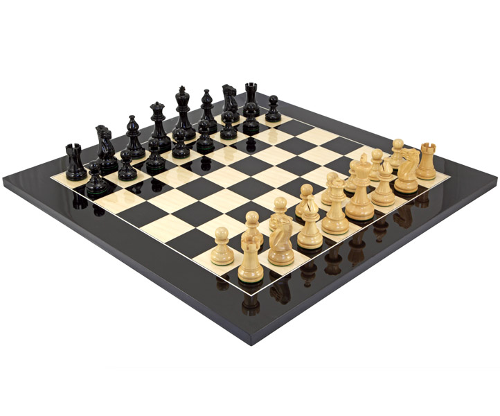 Atlantic Black Gloss & Maple Chess Set