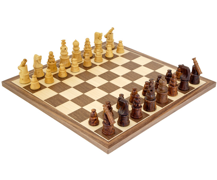 Cannon Sheesham & Walnut Chess Set