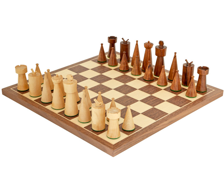 Art Deco Walnut Chess Set