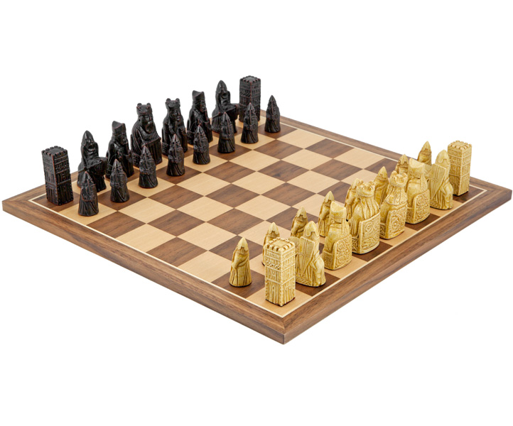 Isle of Lewis Chess Set Walnut Compact