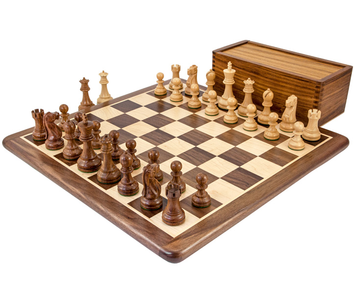 British Sheesham and Walnut Chess Set with Wooden Case