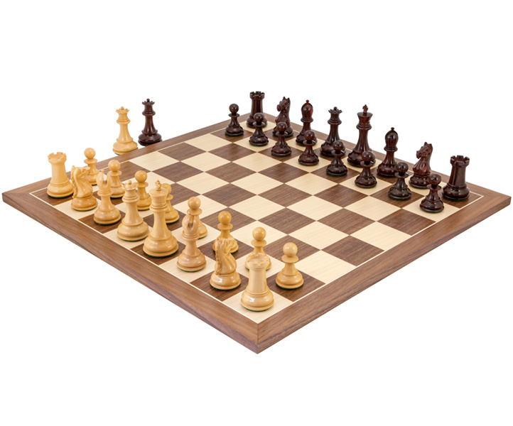Sentinel Red Sandalwood and Walnut Chess Set - Click Image to Close