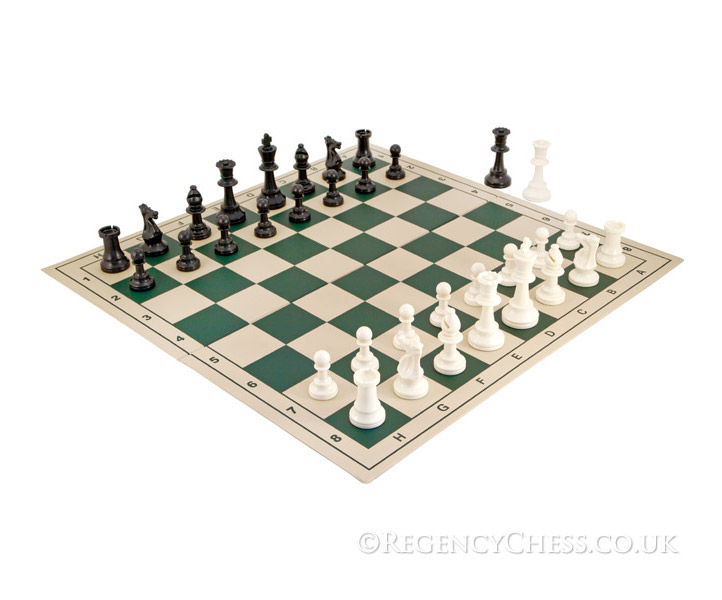 School Tournament Folding Chess Set in Green