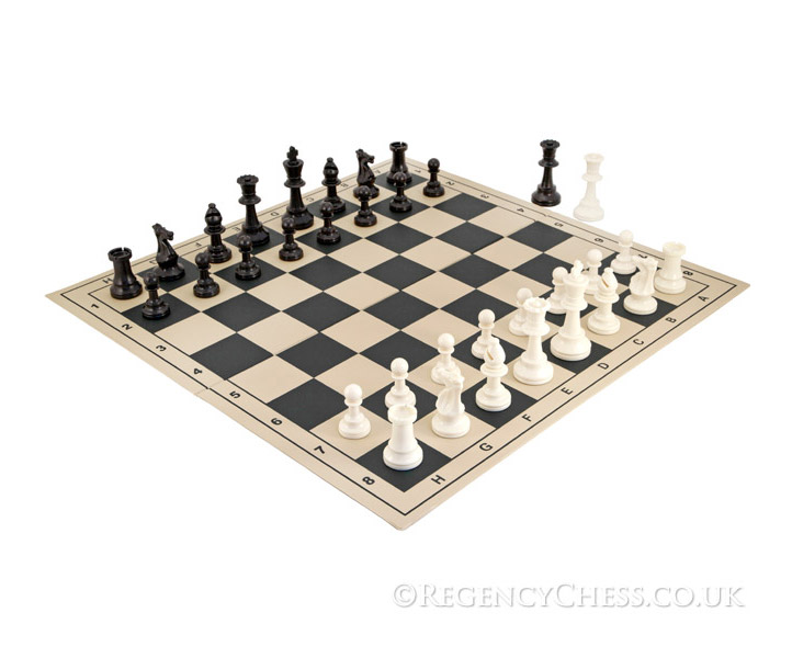 School Tournament Folding Chess Set in Black