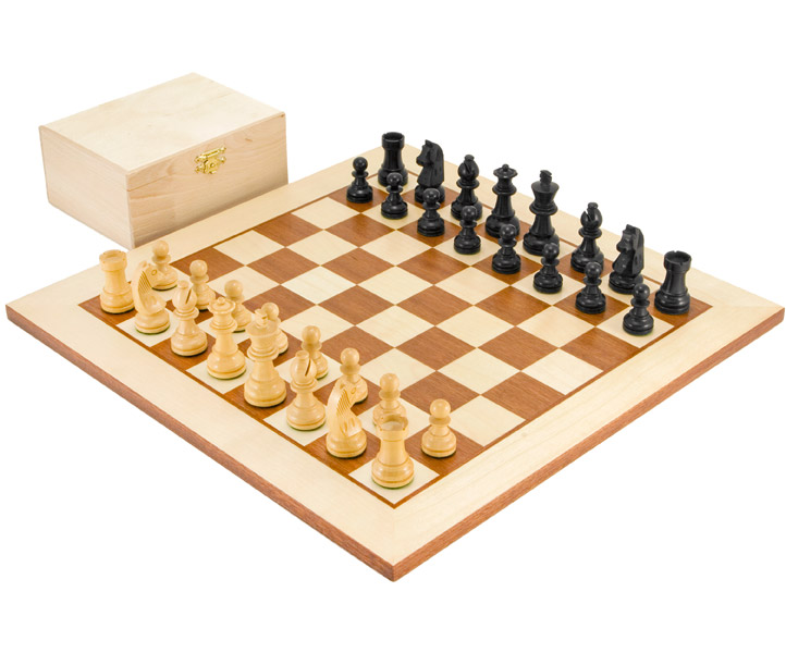 Down Head Black Challenger Chess Set