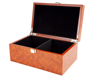 Root Wood Burl Chess Piece Case with Hinged Lid